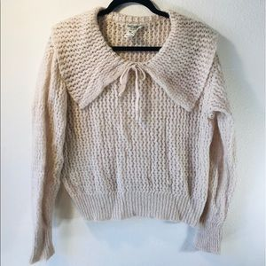 Macaroon Knit Pilgrim Collar Sweater